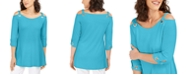 JM Collection Petite Grommet Cold-Shoulder Top, Created for Macy's