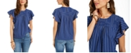 Style & Co Striped Flutter-Sleeve Top, Created for Macy's