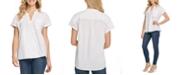 DKNY Mandarin-Collar Linen Top