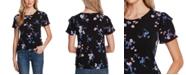 CeCe Ruffled Floral-Print T-Shirt