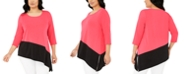 Alfani Plus Size Colorblock Asymmetric Top, Created for Macy's