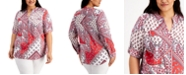 Calvin Klein Plus Size Paisley-Print Button-Down Top