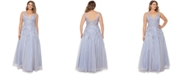 XSCAPE Plus Size Embroidered Illusion-Inset Gown