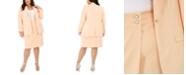 Calvin Klein Plus Size Button-Trim Open-Front Blazer & Pencil Skirt