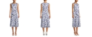 Anne Klein Bow-Front Printed Midi Dress
