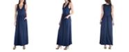 24seven Comfort Apparel Sleeveless V-Neck Maxi Dress with Pocket Detail