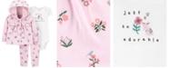 Carter's Baby Girls 3-Pc. Graphic Bodysuit, Floral-Print Hoodie & Pants Set
