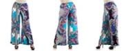 24seven Comfort Apparel Women's Plus Size Floral Palazzo Pants