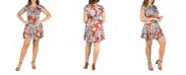 24seven Comfort Apparel Women's Plus Size Short Sleeve Floral T-Shirt Dress
