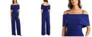R & M Richards Embellished-Strap Cold-Shoulder Jumpsuit