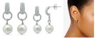 Macy's Imitation Pearl Pave Cubic Zirconia Doorknocker Drop Earrings Crafted in Fine Silver Plate