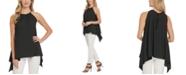 DKNY Printed Asymmetric Sleeveless Top