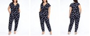 Black Tape Plus Size Abstract Print Belted Jumpsuit
