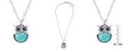 Macy's Simulated Turquoise Silver Plated Owl Pendant Necklace