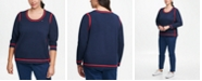 Tommy Hilfiger Plus Size Cotton Contrast-Tipping Sweater