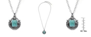 Macy's Simulated Turquoise in Silver Plated Crest Pendant Necklace