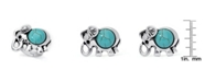 Macy's Simulated Turquoise in Silver Plated Elephant Adjustable Ring