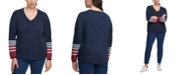 Tommy Hilfiger Plus Size Striped-Sleeve Top