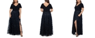 XSCAPE Plus Size 3D Flower A-Line Gown