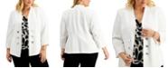 Kasper Plus Size Crepe Faux-Double-Breasted Blazer