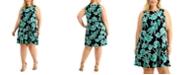 Kasper Plus Size Sleeveless Printed Swing Dress