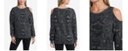 Vince Camuto Cold Shoulder Foil Print Cozy Pullover