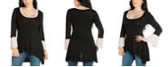 24seven Comfort Apparel Women's Bell Sleeve High Low Tunic Top