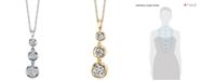 Macy's Sirena Diamond Three Stone Drop Pendant Necklace (1/2 ct. t.w.) in 14k Gold or White Gold