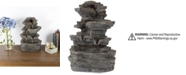 Trademark Global Pure Garden Tiered Stone LED Table Fountain