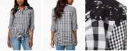 Style & Co Mixed-Gingham Tie-Front Shirt, Created for Macy's