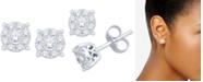 Macy's Diamond Halo Cluster Stud Earrings (1/5 ct. t.w.) in 10k White Gold