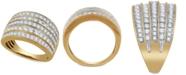 Macy's Diamond Multi-Row Statement Ring (1 ct. t.w.) in 14k Gold