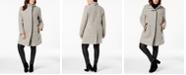 Calvin Klein Plus Size Faux-Leather-Trim Boucle Coat