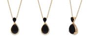 "Macy's Onyx (7 x 5mm & 14 x 10mm) & White Topaz (1/4 ct. t.w.) 18"" Pendant Necklace in 14k Gold-Plated Sterling Silver"