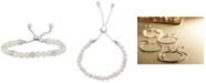 Macy's White Cultured Freshwater Pearl (6mm) & Crystals Bolo Bracelet in Sterling Silver