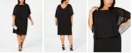 Connected Plus Size Chiffon Cape Sheath Dress
