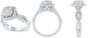 Macy's Diamond Halo Cluster Ring (1 ct. t.w.) in 14k White Gold