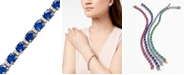 EFFY Collection Velvet Bleu by EFFY Sapphire (12 ct. t.w.) and Diamond (1/4 ct. t.w.) Tennis Bracelet in 14k White Gold