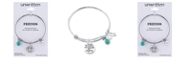 Unwritten Friends Forever Infinity Charm and Turquoise (8mm) Bangle Bracelet in Stainless Steel