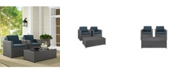 Crosley Palm Harbor 3 Piece Outdoor Wicker Seating Set In Wicker With Cushions - Coffee Table And 2 Arm Chairs