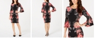 MSK Petite Floral-Print Bell-Sleeve Sheath Dress