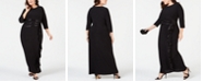 R & M Richards Plus Size Sequin-Trim Ruffle-Detail Gown