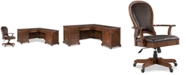 Furniture Clinton Hill Cherry Home Office, 2-Pc. Set (L-Shaped Desk & Leather Desk Chair), Created for Macy's