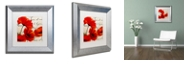 """Trademark Global Color Bakery 'Coquelicots Rouge I' Matted Framed Art, 11"""" x 11"""""""