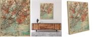 "Creative Gallery Vintage New York Map 24"" X 36"" Canvas Wall Art Print"