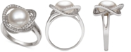 Macy's Cultured Freshwater Pearl (9mm) & Cubic Zirconia Statement Ring in Sterling Silver