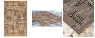 """Liora Manne' Riviera 7653 Happy Words 4'10"""" x 7'6"""" Indoor/Outdoor Area Rug"""