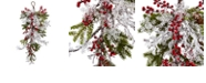 """Nearly Natural 26"""" Berry, Pine and Snowflake Teardrop"""