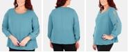 NY Collection Plus Size Split-Sleeve Blouse