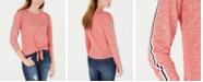 Freshman Juniors' Tie-Front Stripe-Sleeve Top